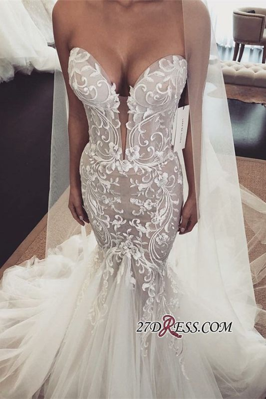 Sexy Lace Tulle Mermaid Wedding Dresses | Sweetheart Sleeveless Long Bridal Dresses