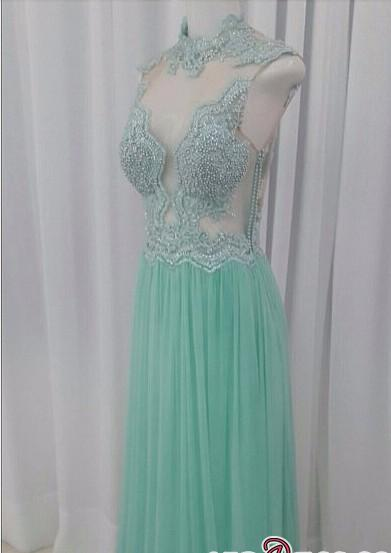 A-line Lace Floor-length High-neck Pearls Chic Evening Dress