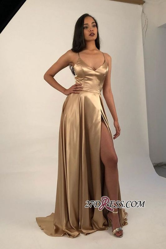 Spaghetti-Straps A-line Side Sexy Slits V-Neck Evening Dresses