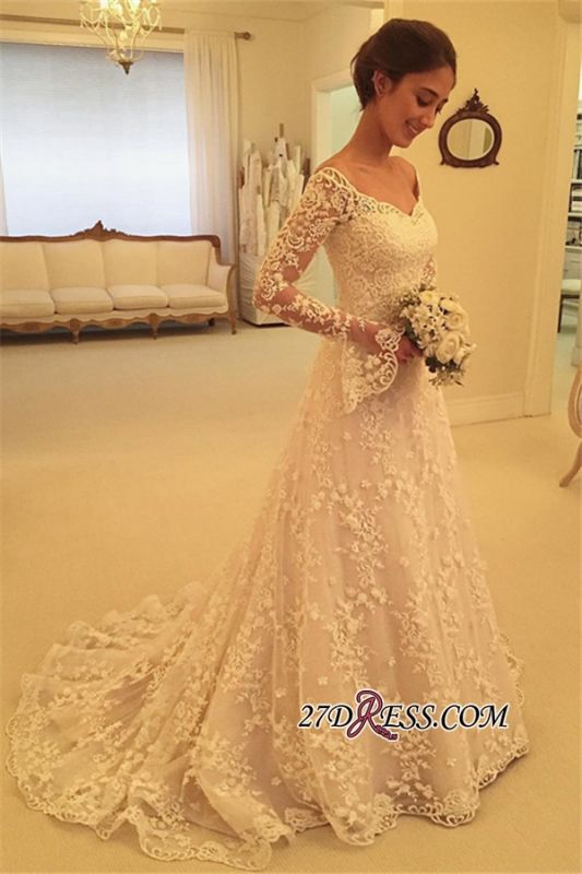 Off-the-Shoulder Long-Sleeves Appliques A-Line Buttons Lace Wedding Dresses