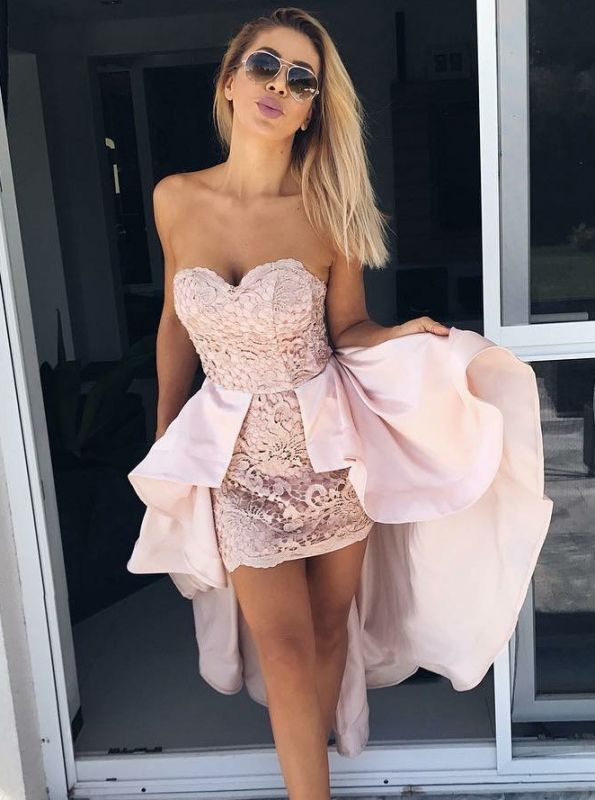Modern Sweetheart Lace Hi-Lo Homecoming Dress | 2020 Detachable Skirt Party Dress