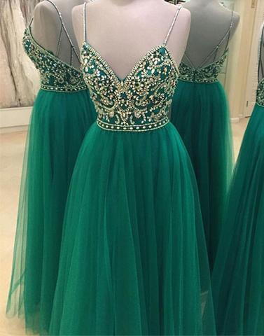 Green Beading Backless A-line Spaghetti Straps New-Arrival Evening Dress