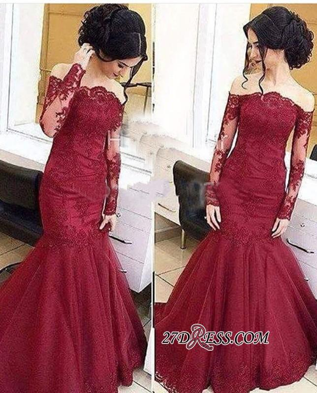 Mermaid Burgundy Long-Sleeve Tulle Amazing Lace Off-The-Shoulder Prom Dresses