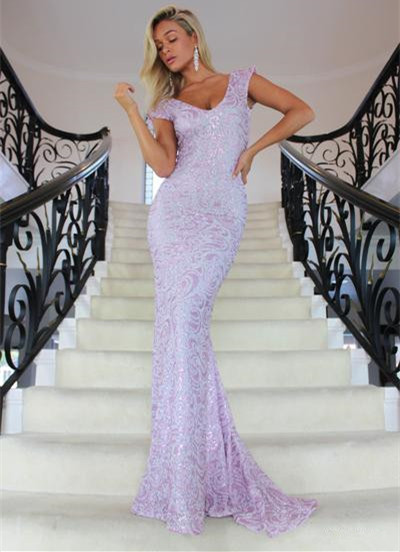 Charming V-Neck Cap Sleeves 2020 Prom Dress | Long Mermaid Lace Evening Gowns On Sale