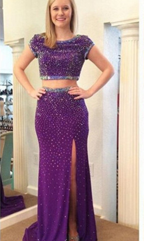 Stunning Two Piece Beadings Front Split Prom Dress 2020 Short Sleeve Sweep Train