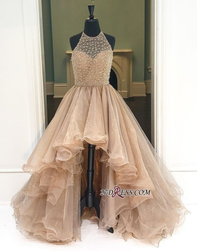 A-Line Halter Beading Low Prom Brilliant Dresses Tulle High Evening Dresses