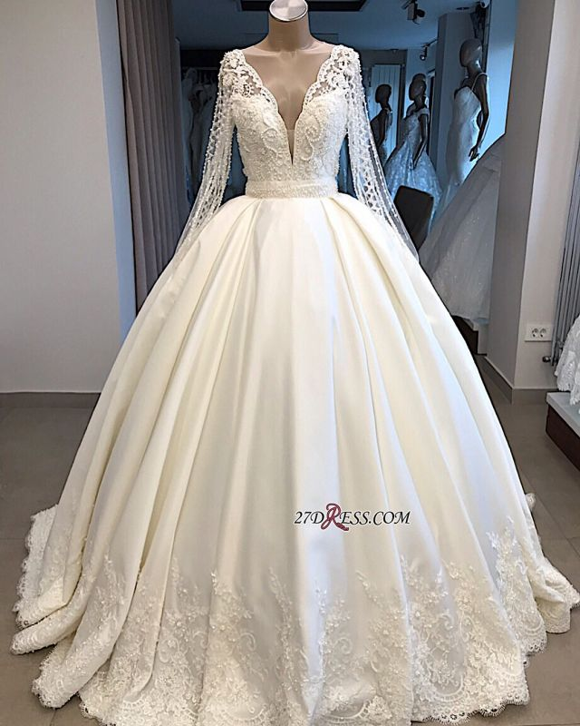 V-neck Long-Sleeves Ball-Gown Amazing Appliques Wedding Dresses