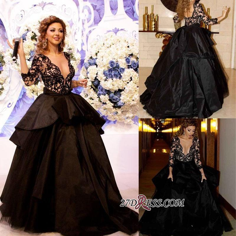 Deep-V-Neck Lace Sleeves Sexy Open-Back 2020 Black Prom Dress