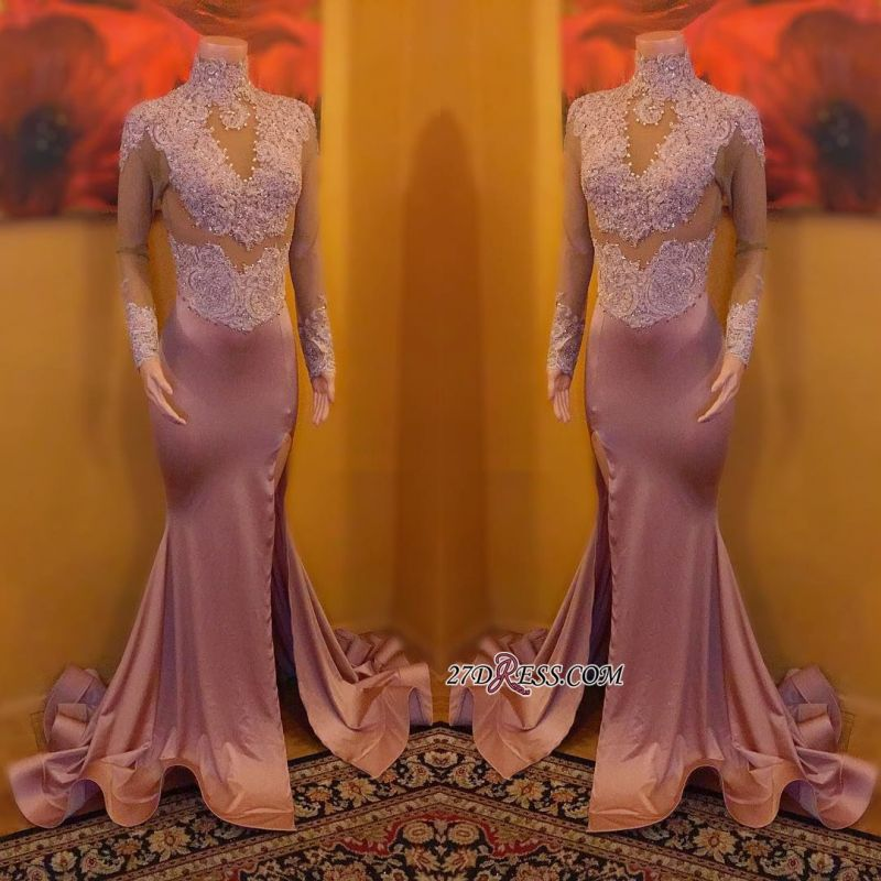Elegant High-Neck Evening Gowns | 2020 Long Sleeve Prom Dress On Sale