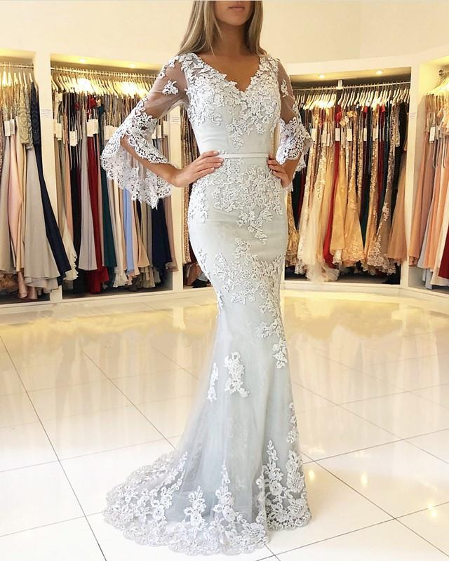 Delicate Lace Long Sleeve Mermaid Evening Dress | 2020 Mermaid Prom Gown