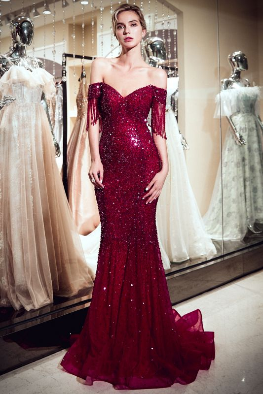 Vintage Burgundy Mermaid Evening Gowns | 2020 Sequins Long Prom Dress With Tassels