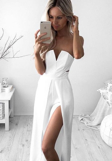 Newest White A-line Sleeveless Front Split Prom Dress