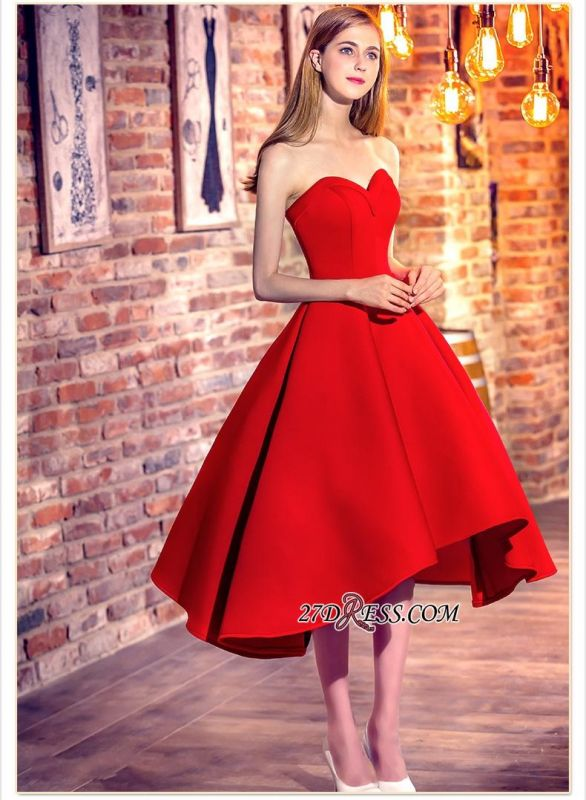 Cocktail-Dresses Sweetheart-Neck Red Short Hi-Lo Chic Party Dresses