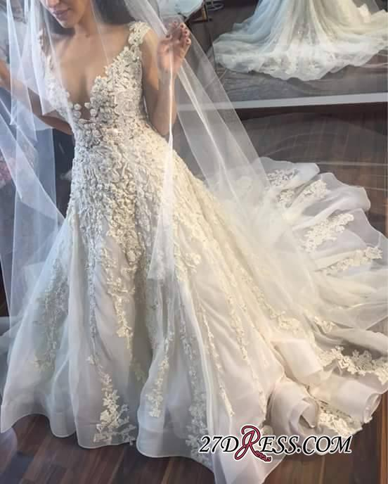 Appliques Gorgeous Lace Sleeveless Princess Wedding Dress