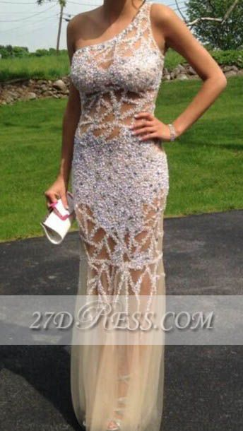 Elegant One Shoulder Sheath Evening Dresses Tulle Prom Gowns with Beadings