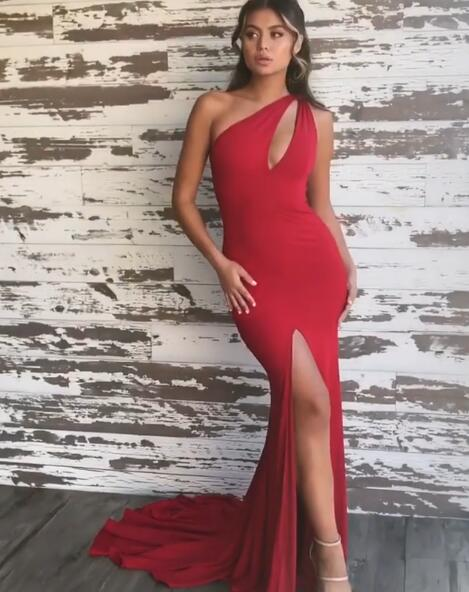 Stunning Red One Shoulder Prom Dresses | 2020 Mermaid Evening Gowns With Slit