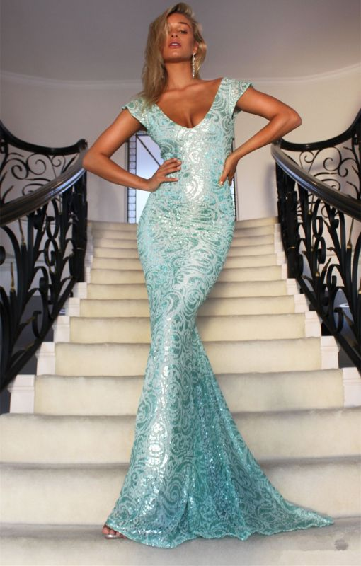 Sexy Cap Sleeves V-Neck Evening Gowns On Sale   Long Mermaid Lace Prom Dress BC2965