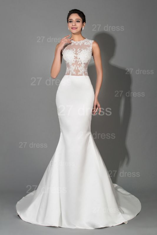 Newest Lace Appliques Mermaid Evening Dress Sweep Train