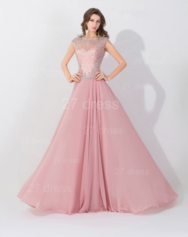 Glamorous Beangs Cap Sleeveless Chiffon Evening Dress Sweep Train Zipper