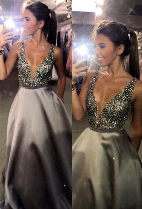 Newest Crystal Straps 2020 Prom Dress A-line Sweep Train