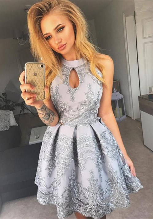 Halter Keyhole 2020 Homecoming Dress | 2020 Short Lace Party Dress
