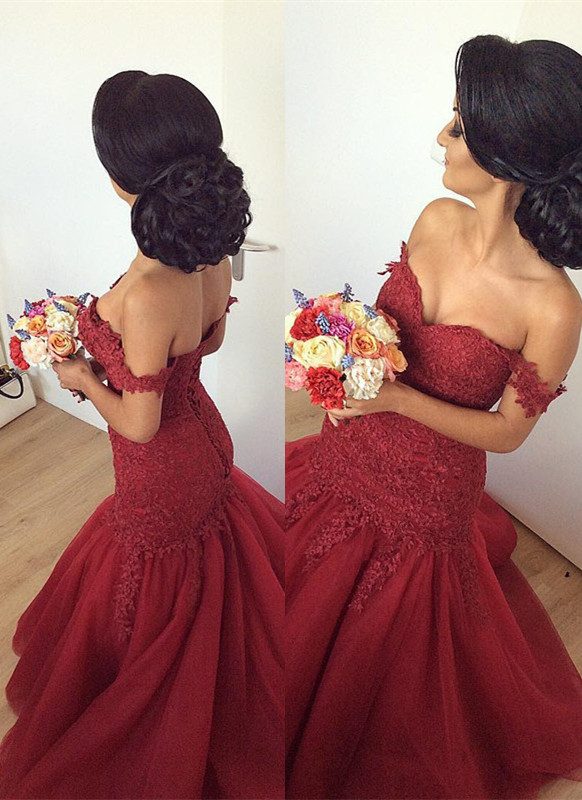 Gorgeous Off-the-Shoulder Burgundy 2020 Prom Dress Long Mermaid Lace Party Gowns BA7580