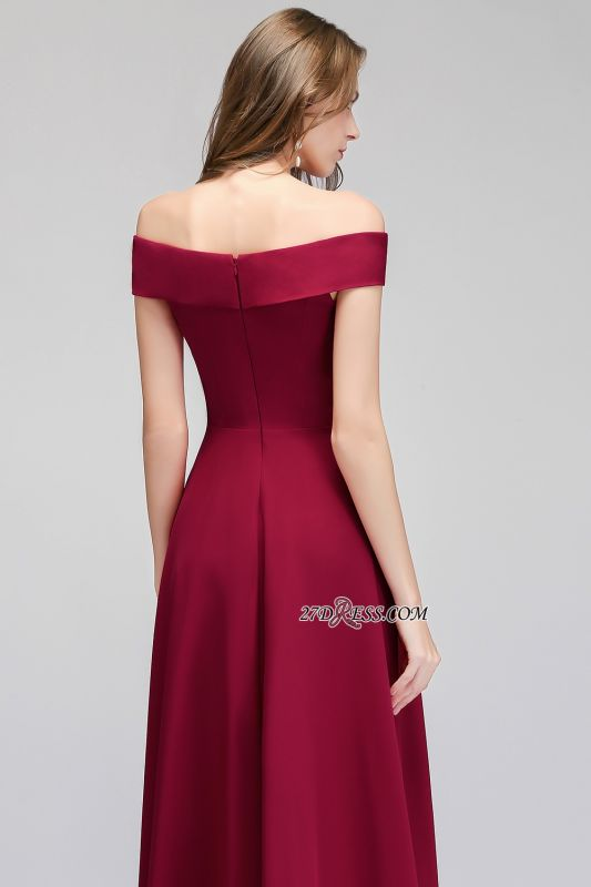 A-line Long Off-the-Shoulder Burgundy Evening Gowns