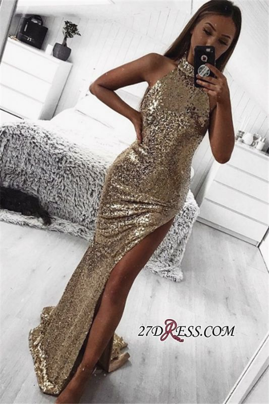High Neck Front Split Mermaid Prom Dresses | Sexy Sleeveless Sequins Cheap Prom Dresses