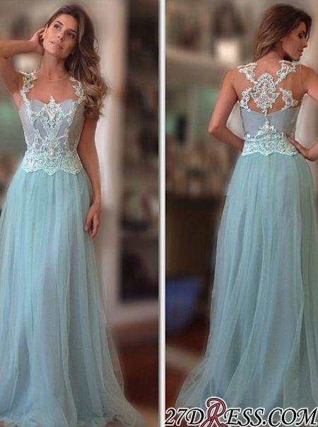 A-Line Long Sleeveless Tulle Lace-Applique Elegant Prom Dresses