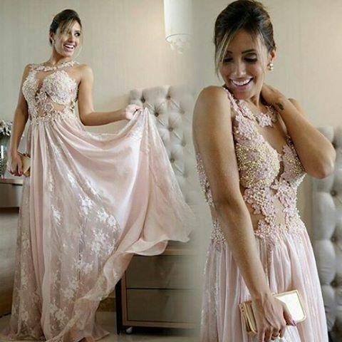 2020 Pearl Scoop Lace Floor-length Pink A-line Evening Gown