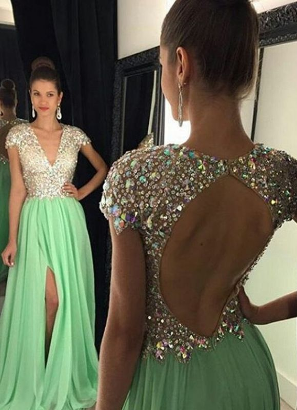 Stunning Cap Sleeve Crystal 2020 Prom Dresses 2020 Open Back Long Chiffon Prom Gown