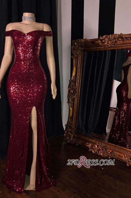 Sheath Sequin-Lace Red Shining Side-Split Evening Dresses