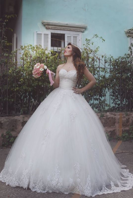 Elegant Tulle Lace Ball Gown Wedding Dress 2020 Sweetheart Sleeveless