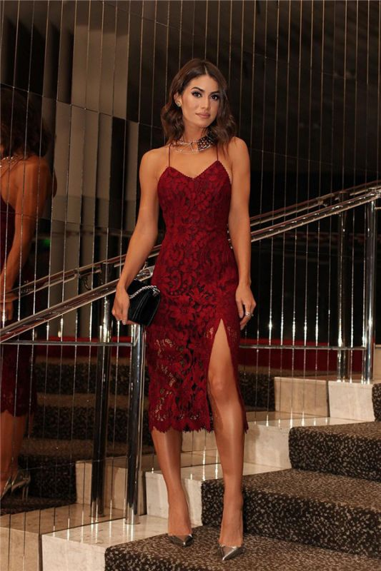Backless Burgundy Two-straps Sexy Lace Prom Dress BA6784