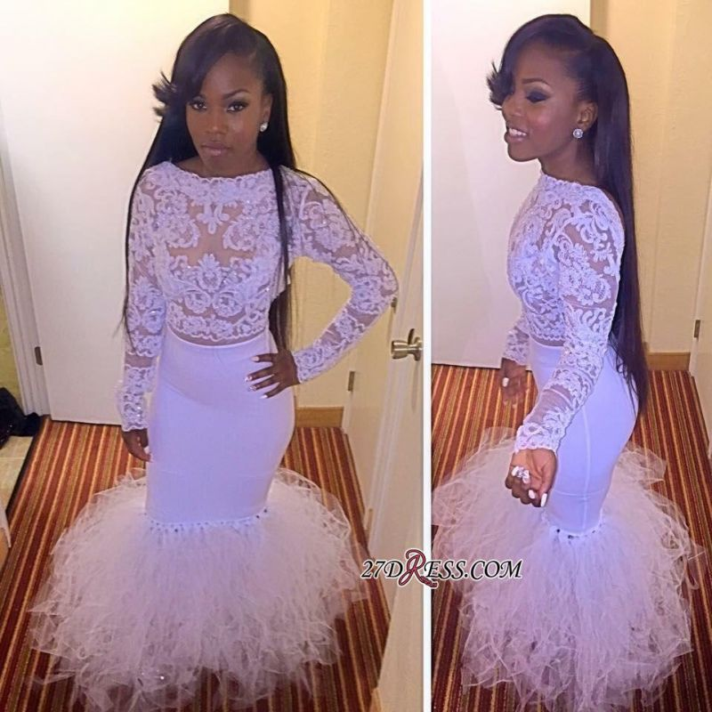 Cheap Mermaid Two-Piece Dress Tulle Prom Lace Long-Sleeves yj0010 BK0