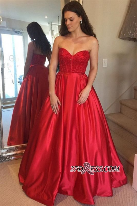 Beaded Gorgeous Sweetheart Red Sleeveless Prom Gowns