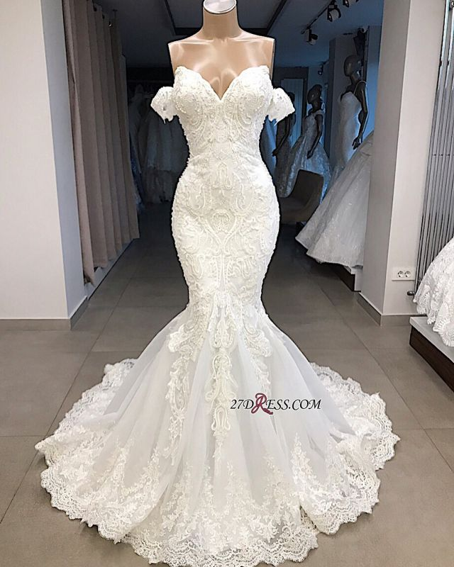 Glorious Sweetheart Mermaid Off-the-shoulder Appliques Wedding Dresses