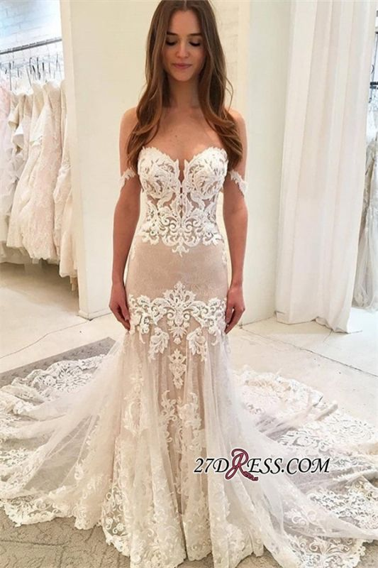 Elegant Off The Shoulder Mermaid Wedding Dresses | Lace Appliques Tulle Bridal Gowns