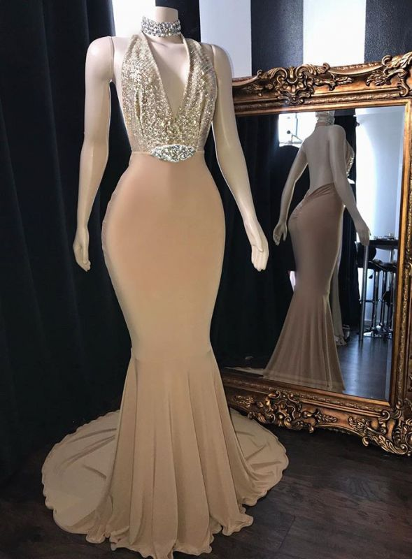 Elegant Champagne Halter Backless Prom Dresses | 2020 Mermaid Sequins Evening Party Gowns