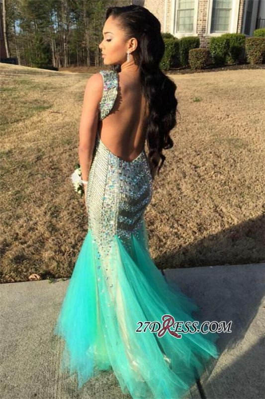 Sequins Beaded Gorgeous Sleeveless Tulle Jewel Mermaid Sparkly Backless Prom Dress