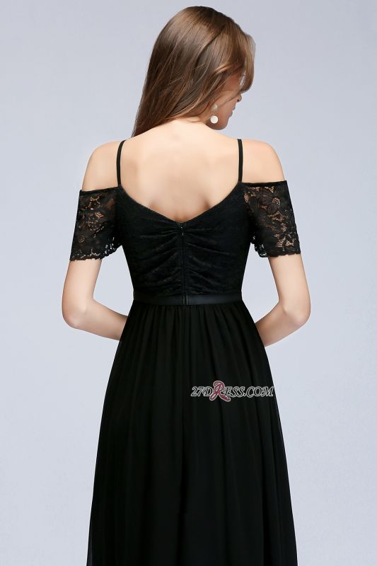 Chiffon Lace Short-Sleeves Black Sexy Cold-Shoulder Evening Dress