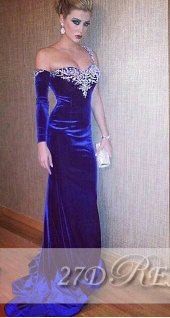 Fashionable Royal Blue Sheath Prom Gowns Beaded Sweep Train Sexy Evening Dresses