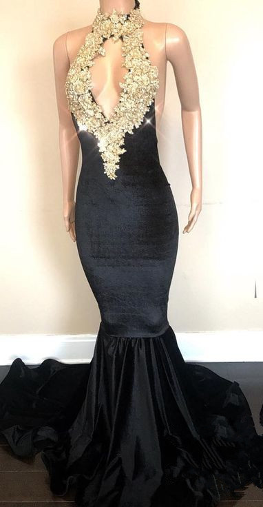 Black High-Neck Prom Dress | 2020 Lace Appliques Party Gowns On Sale