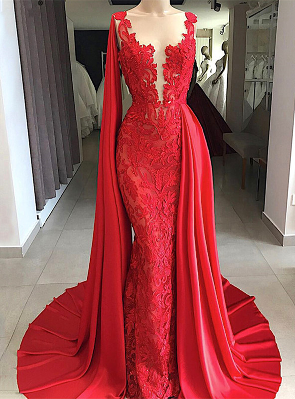 Modest Sleeveless Lace Evening Dress | Red Mermaid Prom Gown With Ruffles BC0887