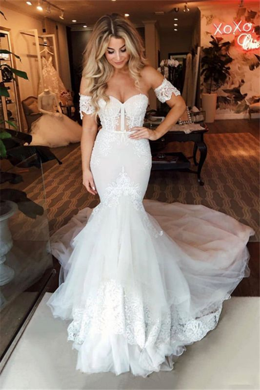 Off-the-Shoulder Puffy Tulle Wedding Dresses Mermaid Appliques Sweep Train Bridal Gowns