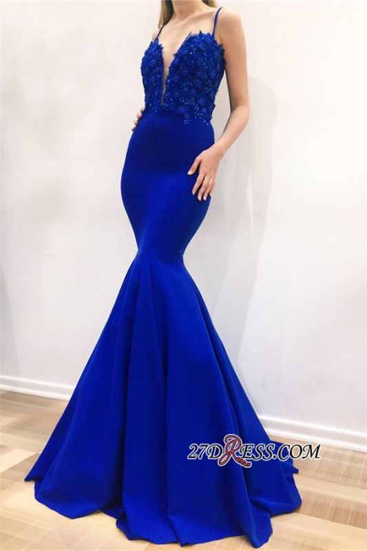Cheap Sleeveless Appliques Mermaid Evening Dresses | Spaghetti Straps Sexy Long Prom Dresses