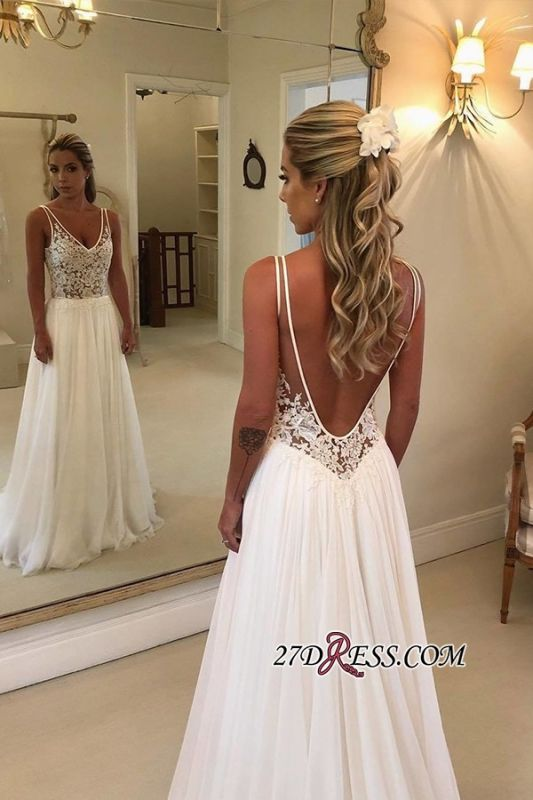 Elegant Chiffon A-Line Wedding Dresses | 2020 V-Neck Sleeveless See Through Bridal Gowns