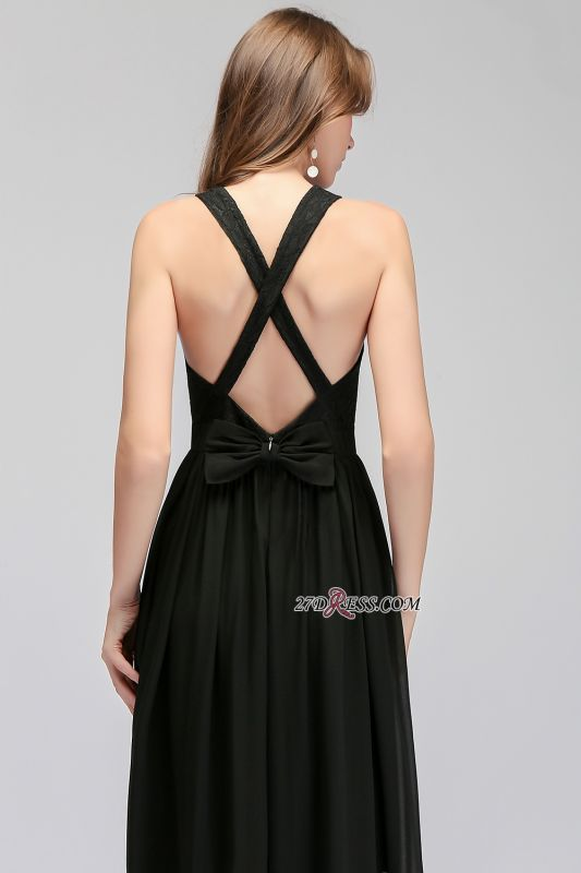 V-Neck Chiffon Crisscross A-line Black Lace Evening Dress