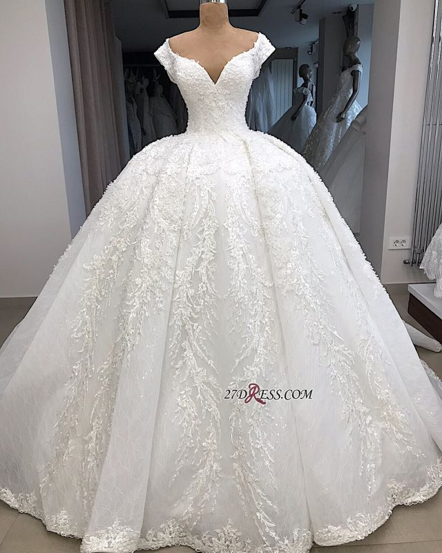 Appliques Fascinating Ball-Gown V-neck Cap-Sleeves Wedding Dresses