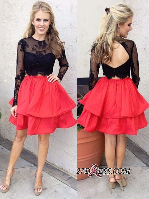 Chic Lace Black Red Two-Piece Long-Sleeves A-line Homecoming Dresses